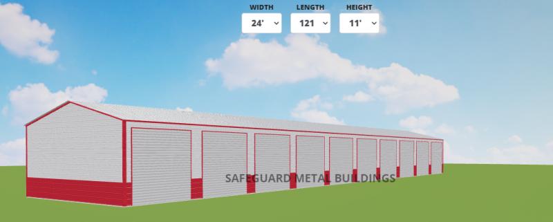 2021 Safeguard Metal Buildings 24' x 120' x 11' Ten Unit Storage Metal Building