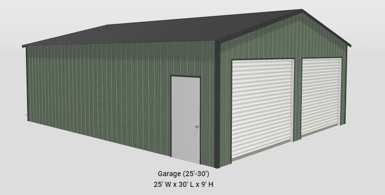 2021 General Shelters 25'x30'x9' Two Car Garage/Shop