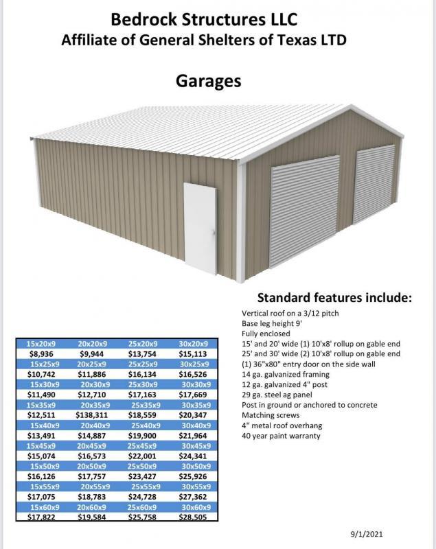 2021 Bedrock/General Shelters 25'x30'x9' Two Car Garage/Shop