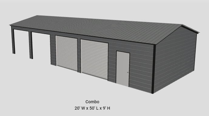 2021 Star 20'x50'x9' Combo Garage/Carport
