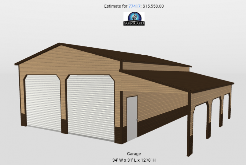 24/10 x 30 x 12/8 Two Car Steel Garage with Lean To