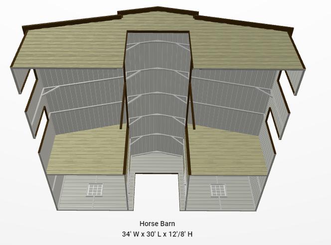 2021 Star 34' x 30' x 12/8' Horse Barn Barn