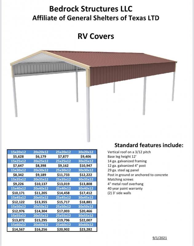 2021 Bedrock/General Shelters 20' x 40' x 12' RV Cover