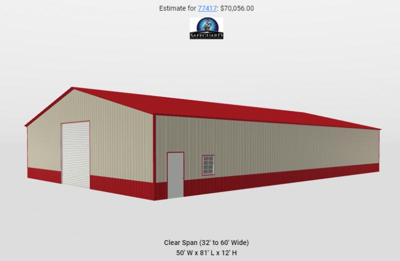 2021 Safeguard 50'x80'x12' Commercial Building