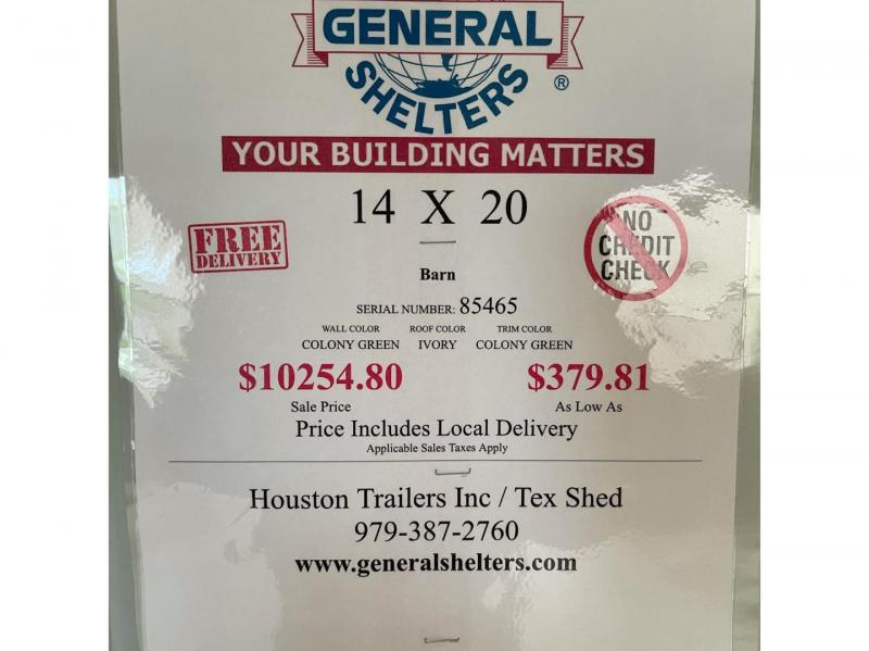 2021 General Shelters 14'x20' Cottage Shed