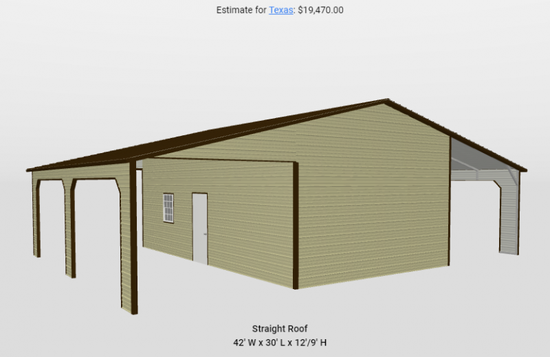 2021 Star 42'x30'x12' Shop with dual lean tos Metal Building