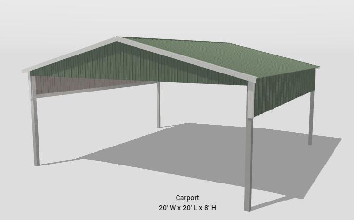 2021 General Shelters 20' x 20' x 8' Carport Garage/Carport