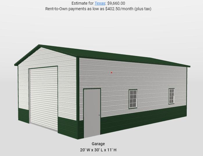2021 Star 20' x 30' x 9' Garage Storage Metal Building