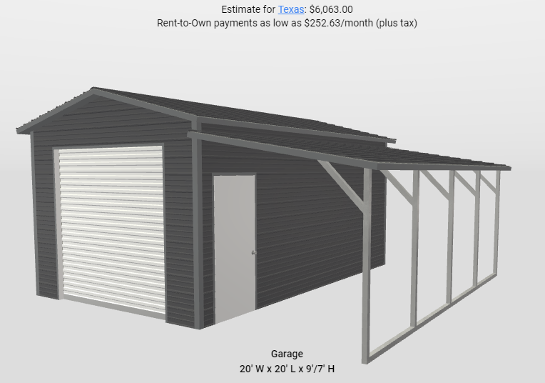 2021 Star 12' x 20' x 9' Garage with 8' Lean-To