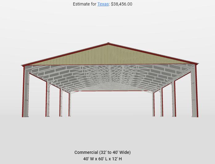 2021 Star 40'x60'x12' Pavilion Metal Building