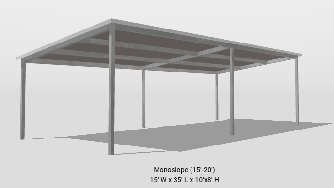2021 Bedrock/General Shelters 15' x 35' Mono-Slope Parking or Patio Cover