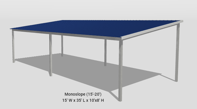 2021 General Shelters 15' x 35' Mono-Slope Parking or Patio Cover