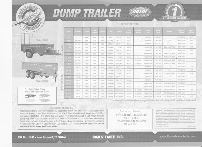 2022 Homesteader Trailers Dump 610LB Dump Trailer