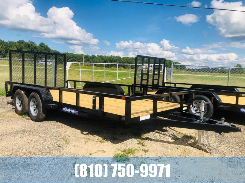 2021 Sure-Trac 7 x 16 Tube Top Utility Trailer 7K Tandem (ST8216TAT-B-070) Utility Trailer