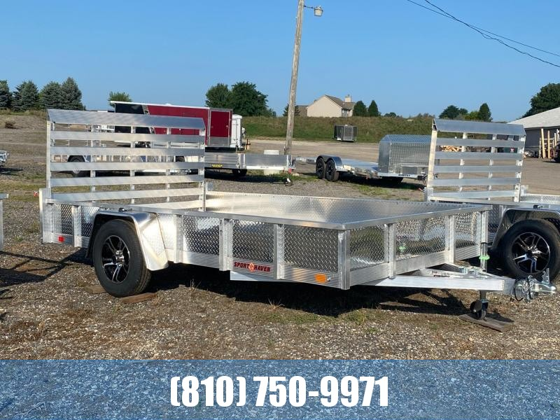 2022 Sport Haven 7x12 Deluxe Aluminum Utility Trailer with Sides