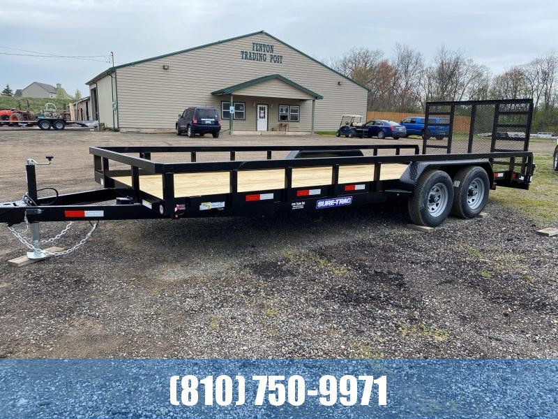 2021 Sure-Trac 7x20 10K Tube Top Utility Trailer with Beavertail