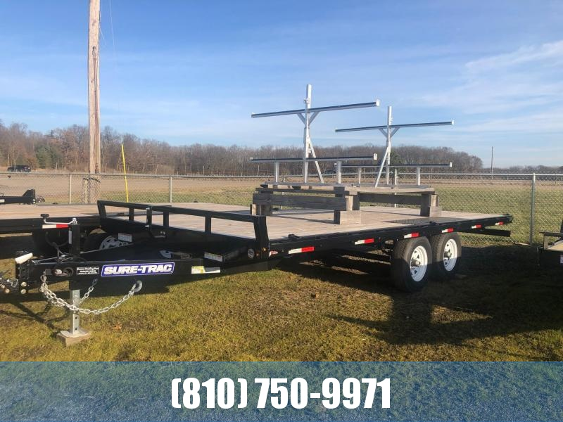 2019 Sure-Trac 8.5 x 18 10K Low Profile Flatbed Deckover Flatbed Trailer