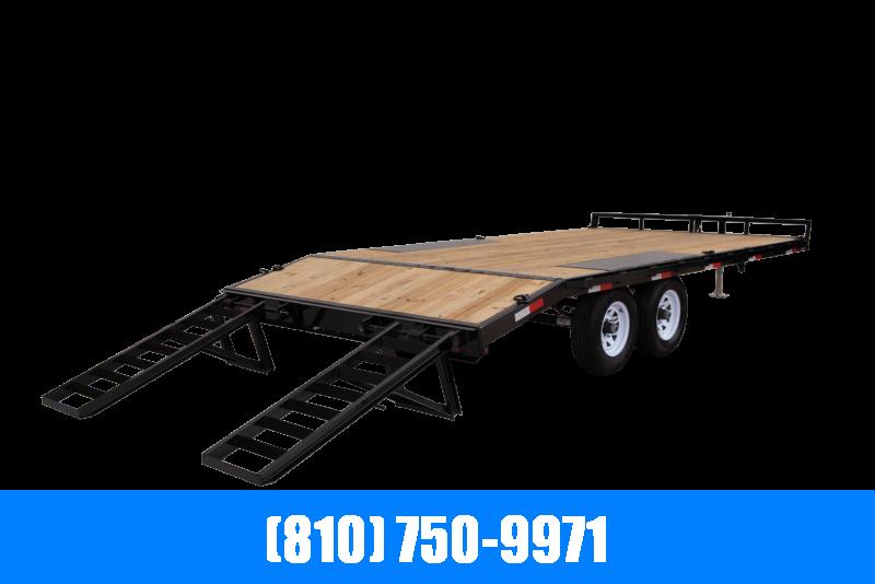 2021 Sure-Trac 8.5x15+3' Beavertail Flatbed Deckover Equipment Trailer