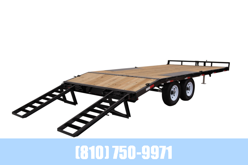 2021 Sure-Trac 8.5x15+3' Beavertail Flatbed Deckover Equipment Trailer