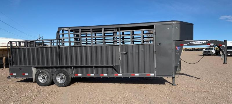 2020 Titan Trailers 24' 3/4 Top Livestock Trailer