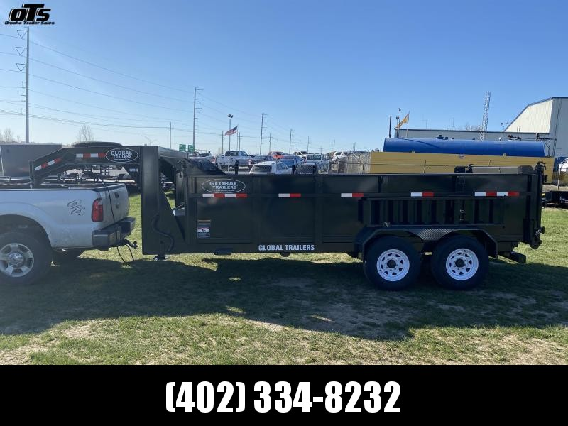 2021 Global Trailers 16 ft Gooseneck High Side Dump Trailer