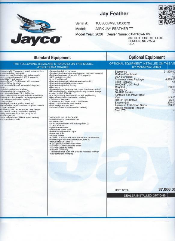 2020 Jayco Jay Feather 22RK Travel Trailer RV