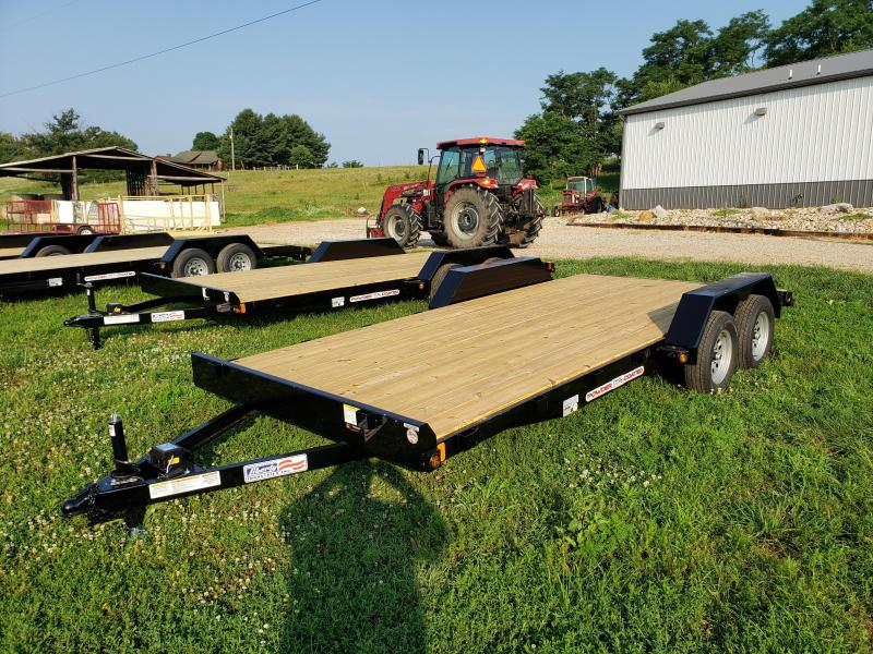 2020 7K LIBERTY 83X18 CAR HAULER WITH 5' SLIDE IN RAMPS AND 2' DOVETAIL