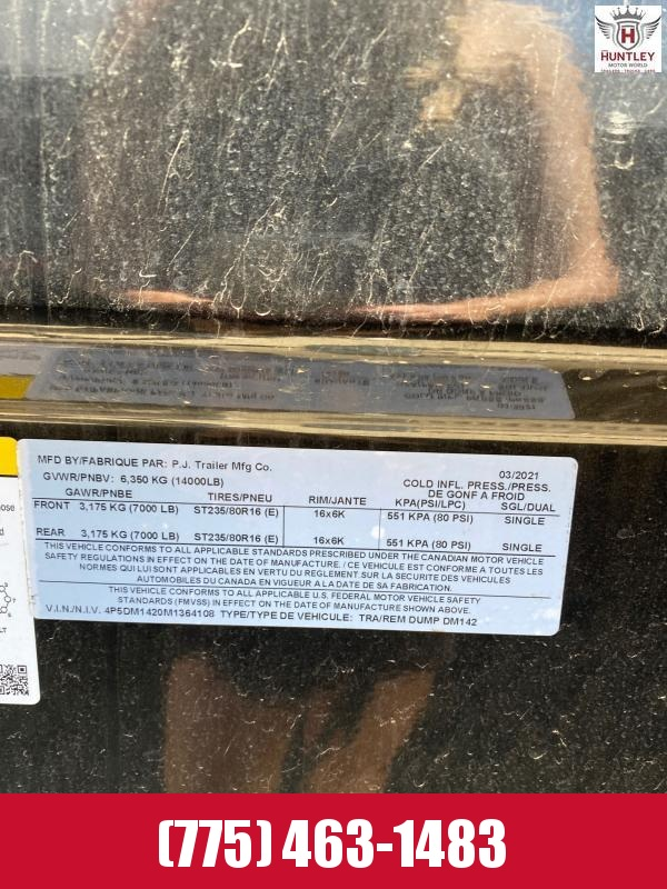 "2021 PJ Trailers 83"" x 14' Low-Pro High Side Dump (DM) Dump Trailer"