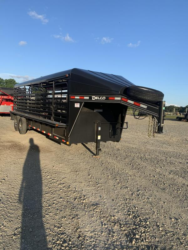 2020 Delco Trailers 24x6 Metal Top Stock Livestock Trailer
