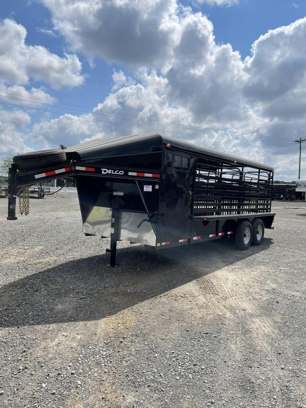 2021 Delco Trailers 20x6.8 Metal Top Stock with Tack Livestock Trailer