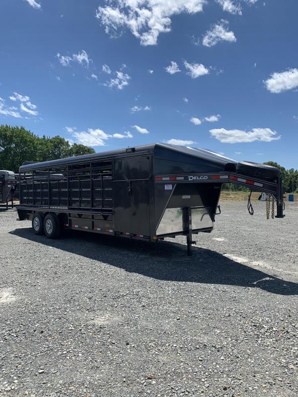 2020 Delco Trailers 24x6.8 Metal Top Show Cattle Stock Trailer Livestock Trailer