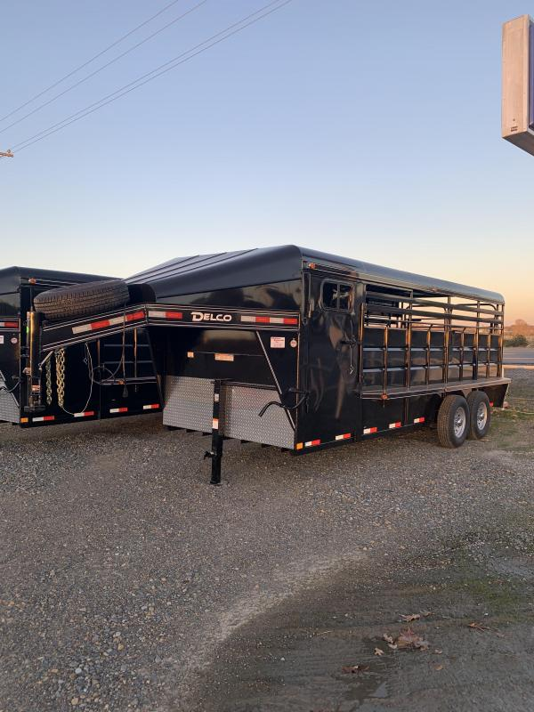 2021 Delco Trailers 20x6.8 Metal Top Stock with 4' Tack Livestock Trailer