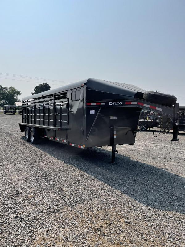 2021 Delco Trailers 24x6.8 Metal Top Stock with Tack Livestock Trailer