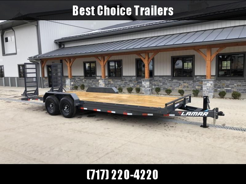 """2022 Lamar 7x20' Equipment Trailer 16000# GVW * 8000# AXLES * 17.5"""" TIRES * TOOLBOX * DELUXE OVERWIDTH RAMPS W/ HEAVY MESH * CHARCOAL POWDERCOAT * RUBRAIL/STAKE POCKETS/PIPE SPOOLS/D-RINGS * REM FENDERS * 12K JACK * CAST COUPLER"""