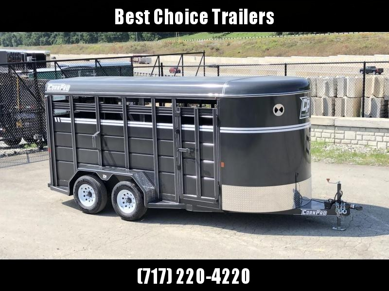 """2022 Corn Pro 16' Livestock Trailer 7000# GVW * GREY/CHARCOAL * TORSION SUSPENSION * DEXTER AXLES * 225/75/R15 8-PLY TIRES * HD FENDERS * CENTER AND REAR SLAM GATES * 4"""" CHANNEL TONGUE * URETHANE PAINT * KILN DRIED LUMBER"""