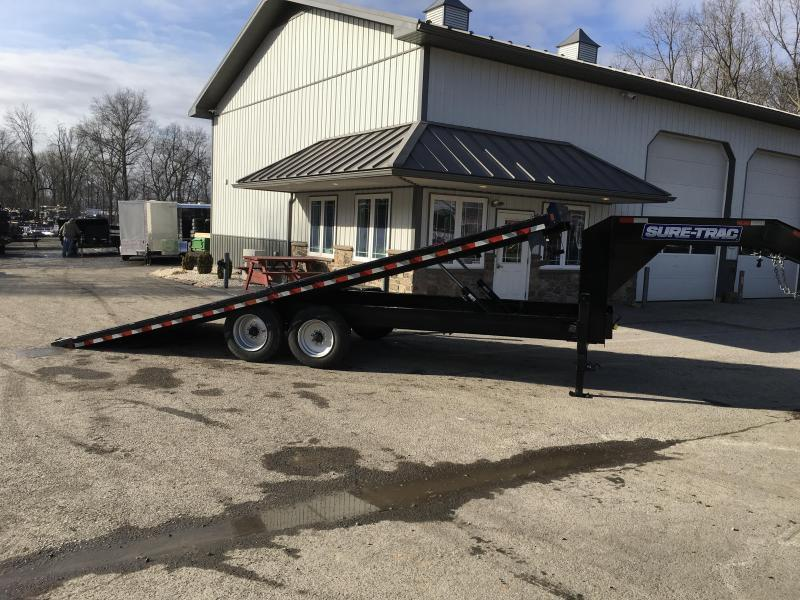"""2021 Sure-Trac 102x24' Gooseneck Power Tilt Deckover 17600# GVW * 8000# AXLES * 17.5"""" 16-PLY TIRES * WINCH PLATE * OAK DECK * DUAL HYDRAULIC JACKS * 4X4X1/4"""" TUBE BED RUNNERS * DUAL PISTON * 10"""" I-BEAM * RUBRAIL/STAKE POCKETS/PIPE SPOOLS/8 D-RINGS * LOW L"""