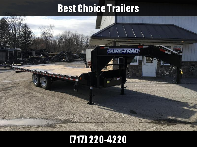 "2021 Sure-Trac 102x24' Gooseneck Power Tilt Deckover 17600# GVW * 8000# AXLES * 17.5"" 16-PLY TIRES * WINCH PLATE * OAK DECK * DUAL HYDRAULIC JACKS * 4X4X1/4"" TUBE BED RUNNERS * DUAL PISTON * 10"" I-BEAM * RUBRAIL/STAKE POCKETS/PIPE SPOOLS/8 D-RINGS * LOW L"