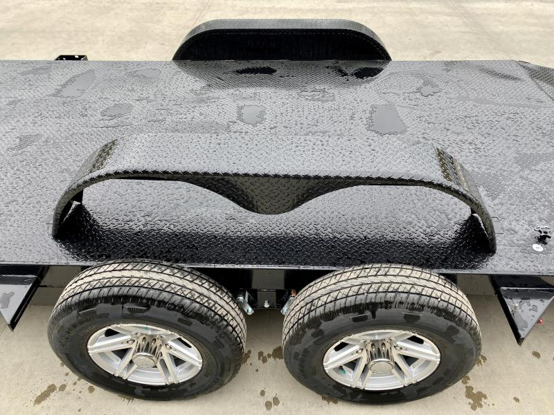 """2021 Sure-Trac 7x24' Steel Deck Car Hauler 9900# GVW * 4' BEAVERTAIL * LOW LOAD ANGLE * ALUMINUM WHEELS * 5"""" TUBE TONGUE/FRAME * AIR DAM * RUBRAIL/STAKE POCKETS/D-RINGS * REMOVABLE FENDER * FULL SEAMS WELDS * REAR SLIDEOUT PUNCH PLATE RAMPS * CLEARANCE"""