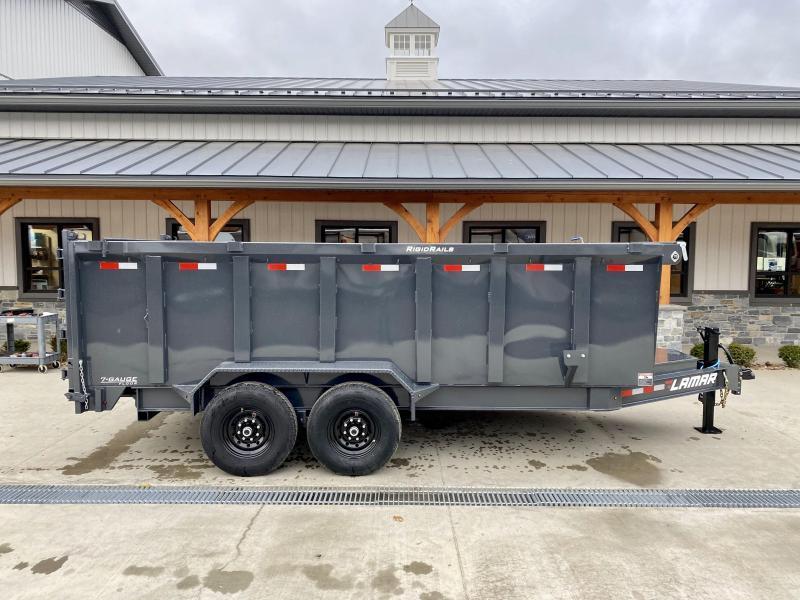 2021 Lamar 7x16' 14000# gvw dump trailer dl831627-hs4