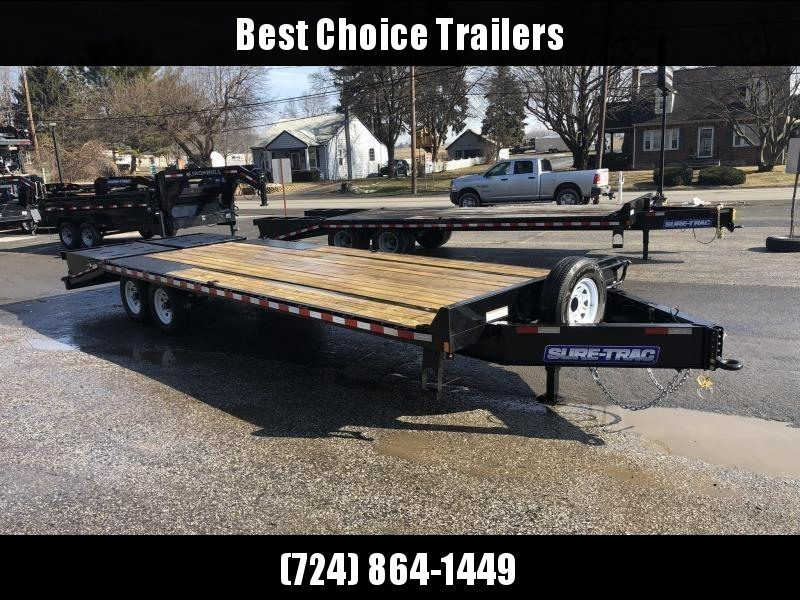 "2021 Sure-Trac 102x25' HD Beavertail Deckover Trailer 15000# GVW * FULL WIDTH RAMPS * INTEGRATED TOOLBOX * DUAL JACKS * 12"" I-BEAM MAINFRAME * PIERCED FRAME * RUBRAIL/STAKE POCKETS/PIPE SPOOLS/10 D-RINGS * CROSS TRAC BRACING"