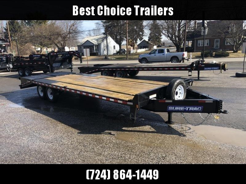 "2021 Sure-Trac 102x25' HD Beavertail Deckover Trailer 15000# GVW * FULL WIDTH RAMPS * INTEGRATED TOOLBOX * DUAL JACKS * 12"" I-BEAM MAINFRAME * PIERCED FRAME * RUBRAIL/STAKE POCKETS/PIPE SPOOLS/10 D-RINGS * CROSS TRAC BRACING"