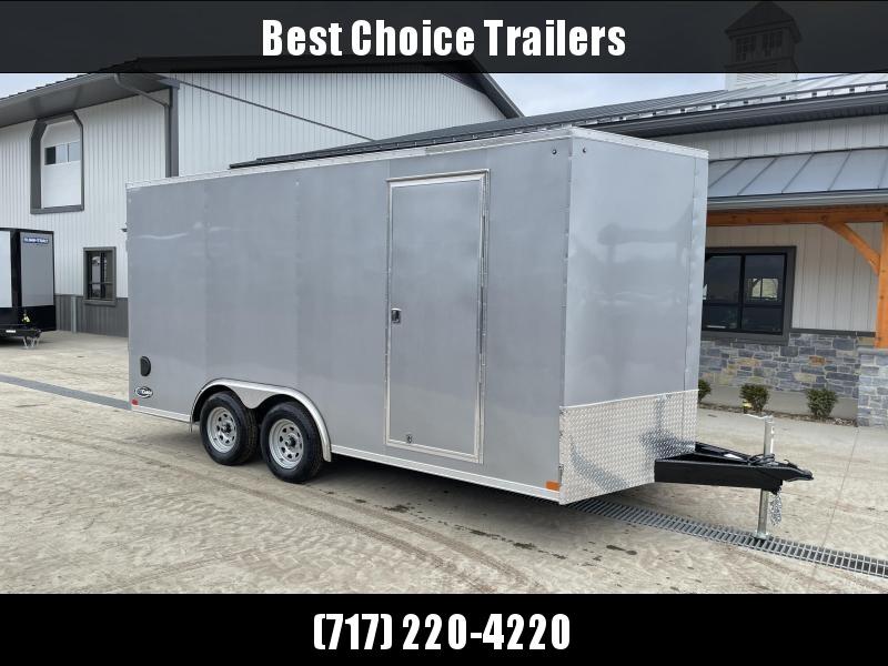 "2021 ITI Cargo 8.5x16 Enclosed Car Hauler Trailer 7000# GVW * 7' HEIGHT UTV PKG * SILVER EXTERIOR * .030 SEMI-SCREWLESS * RV DOOR * 1 PC ROOF * 3/8"" WALLS * 3/4"" FLOOR * PLYWOOD * TRIPLE TUBE TONGUE * 6'6"" INTERIOR * 24"" STONEGUARD * HIGH GLOSS PAINTED FR"