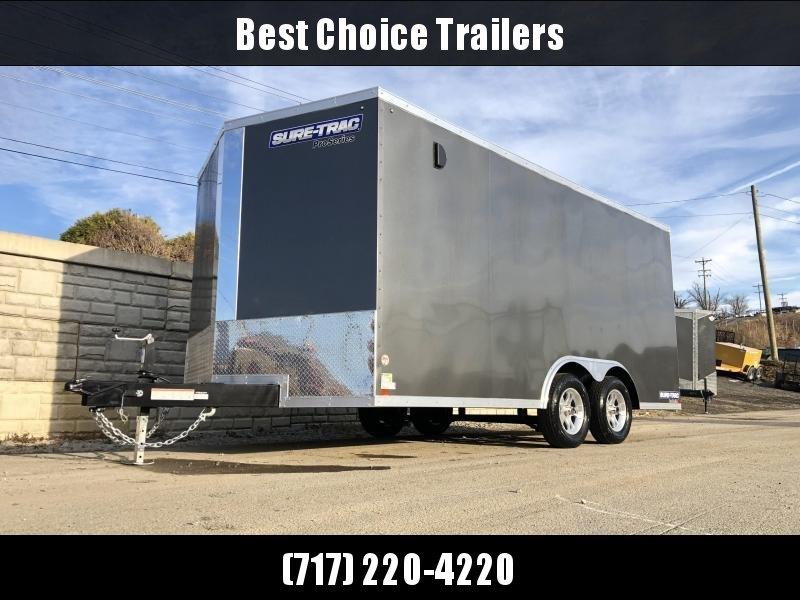 2020 Sure-Trac 8.5x16' Enclosed Cargo Trailer 7000# GVW * CHARCOAL * PRO SERIES * TORSION * BACKUP LIGHTS * SCREWLESS * 1 PIECE ALUMINUM ROOF * PLYWOOD * TUBE STUDS * ALUMINUM WHEELS