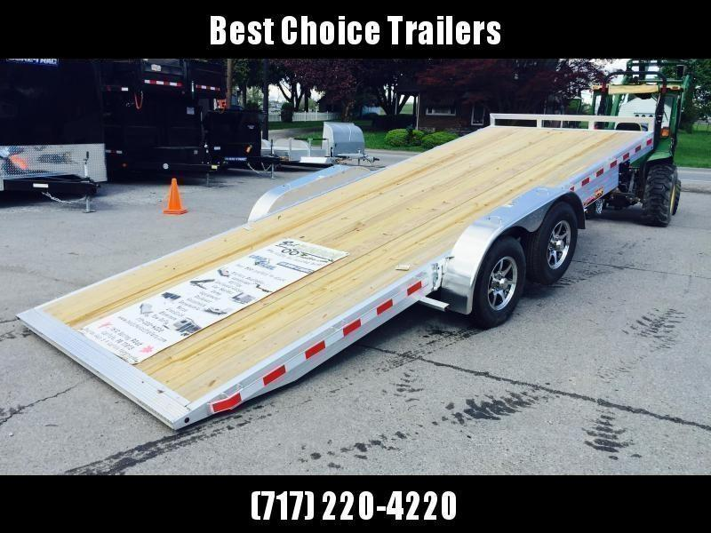 "2021 H&H 7x18' Aluminum Power Tilt Car Hauler Trailer 7000# GVW * POWER TILT * ALUMINUM TOOLBOX * 6"" TONGUE AND FRAME * REMOVABLE FENDERS * ALUMINUM WHEELS * DROP JACK"