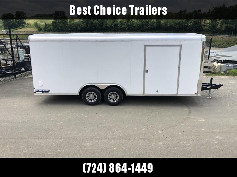 """2021 Sure Trac 8.5x20' STRCH Commercial Round Top Enclosed Car Hauler Trailer 9900# * WHITE * TORSION * BACKUP LIGHTS * SCREWLESS * 1 PIECE ROOF * PLYWOOD * TUBE STUDS * ALUMINUM WHEELS * 48"""" SD * 7K JACK"""