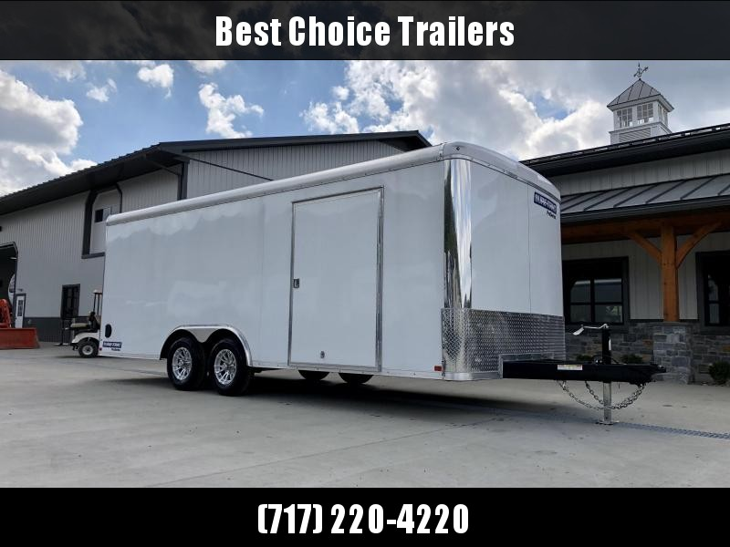 "2021 Sure Trac 8.5x20' STRCH Commercial Round Top Enclosed Car Hauler Trailer 9900# * WHITE * TORSION * BACKUP LIGHTS * SCREWLESS * 1 PIECE ROOF * PLYWOOD * TUBE STUDS * ALUMINUM WHEELS * 48"" SD * 7K JACK"