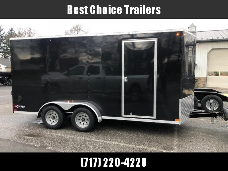 "2021 ITI Cargo 7x16' Enclosed Cargo Trailer 7000# GVW * TORSION SUSPENSION * BLACK EXTERIOR * .030 SEMI-SCREWLESS * 1 PC ROOF * 7' INTERIOR - UTV HEIGHT * 3/8"" WALLS * 3/4"" FLOOR * PLYWOOD * 24"" STONEGUARD * HIGH GLOSS PAINTED FRAME * RV DOOR"