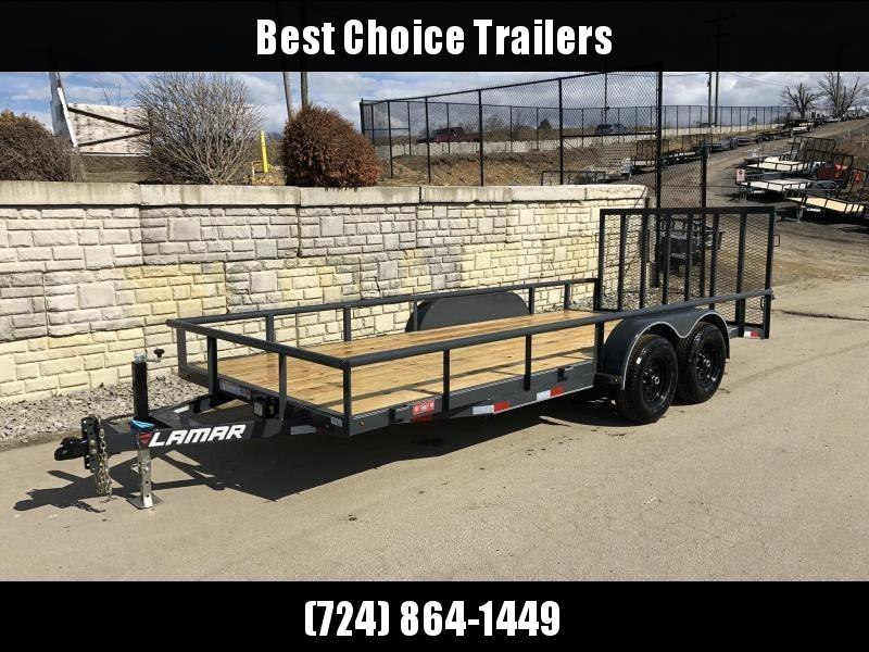 2020 Lamar 7x18' Utility Landscape Trailer 9990# GVW * 4' HD RAMP W/ SPRING ASST * 7K JACK * 2' DOVETAIL * PIPE TOP * CHARCOAL * ADJUSTABLE COUPLER * CHANNEL FRAME