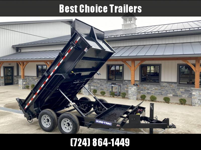 2021 Sure-Trac 7x12' Dump Trailer 14000# GVW * TARP KIT * HYDRAULIC JACK * 7 GAUGE FLOOR * DUAL PISTON * FRONT/REAR BULKHEAD * INTEGRATED KEYWAY * 2' SIDES * UNDERBODY TOOL TRAY * ADJUSTABLE COUPLER * 110V CHARGER