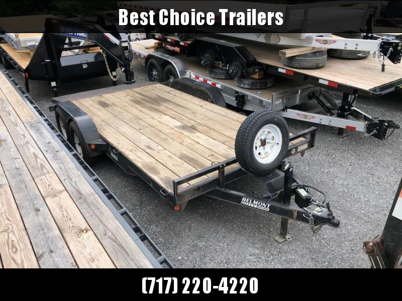 "USED Belmont 7x16' Wood Deck Car Hauler Trailer 8000# GVW * STEEL BEAVERTAIL * 5"" TONGUE AND FRAME * SPARE TIRE"